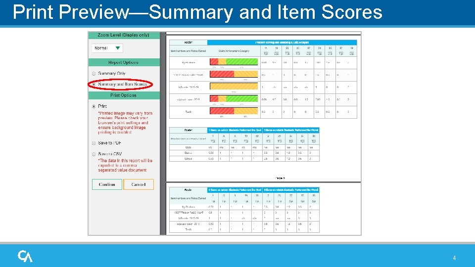 Print Preview—Summary and Item Scores 4