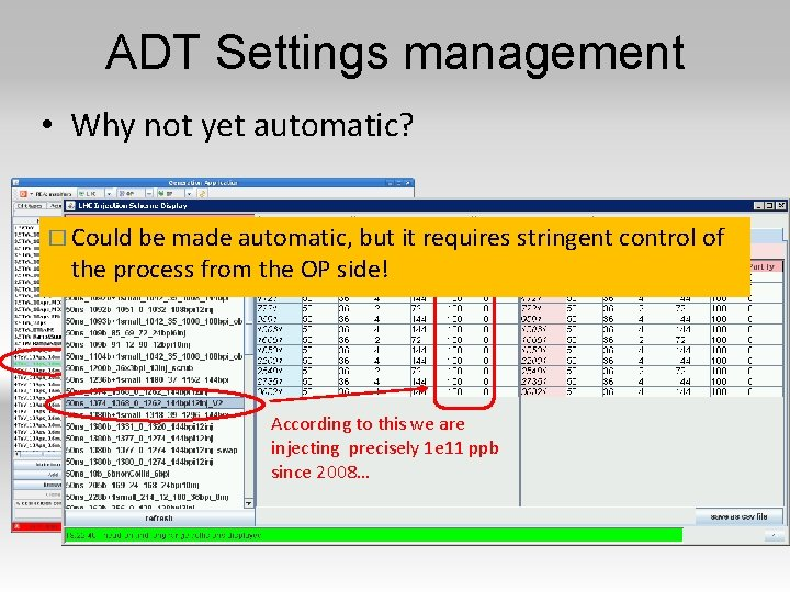 ADT Settings management • Why not yet automatic? � Could be made automatic, but
