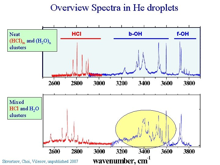 Overview Spectra in He droplets Neat (HCl)m and (H 2 O)n clusters HCl Mixed