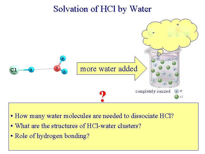 Solvation of HCl by Water + - more water added ? completely ionized •