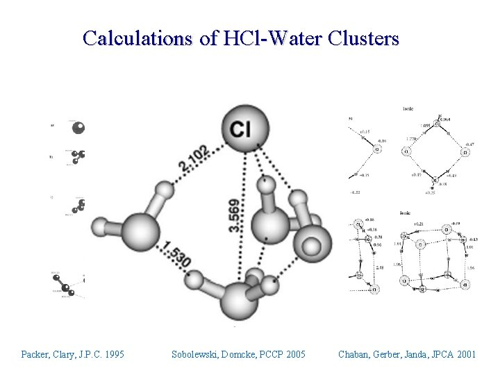 Calculations of HCl-Water Clusters Packer, Clary, J. P. C. 1995 Sobolewski, Domcke, PCCP 2005