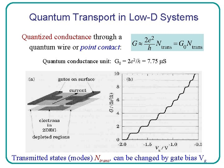 Quantum Transport in Low-D Systems Quantized conductance through a quantum wire or point contact: