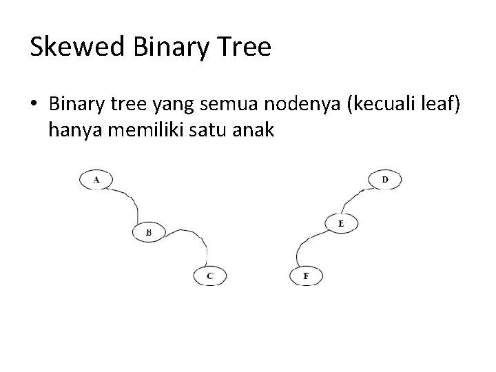 Skewed Binary Tree • Binary tree yang semua nodenya (kecuali leaf) hanya memiliki satu