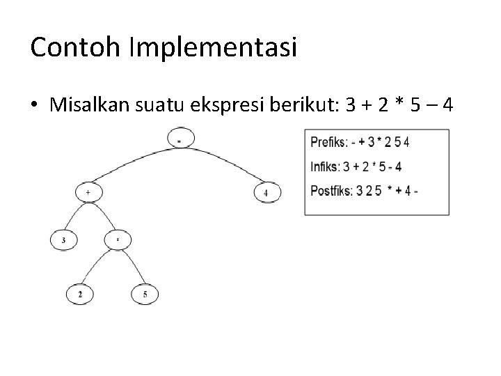 Contoh Implementasi • Misalkan suatu ekspresi berikut: 3 + 2 * 5 – 4