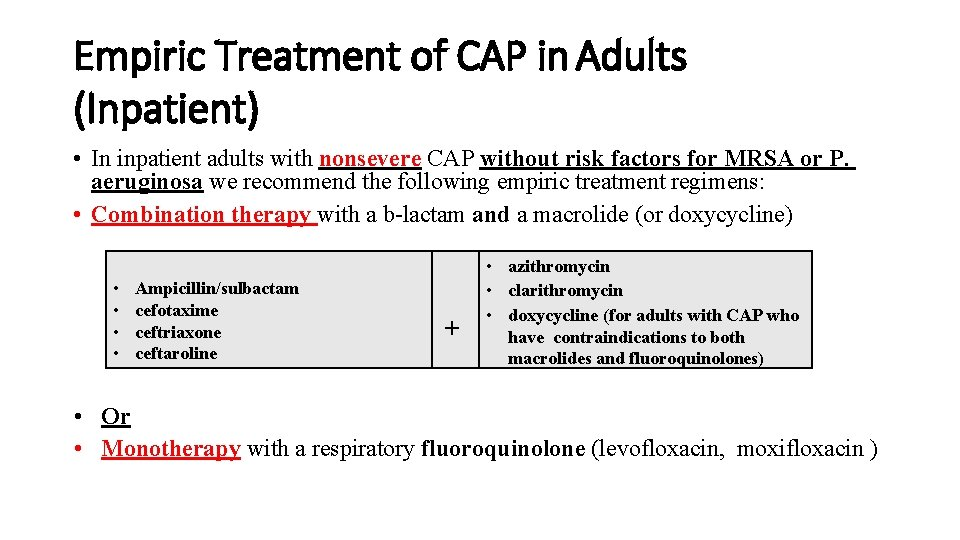 Empiric Treatment of CAP in Adults (Inpatient) • In inpatient adults with nonsevere CAP