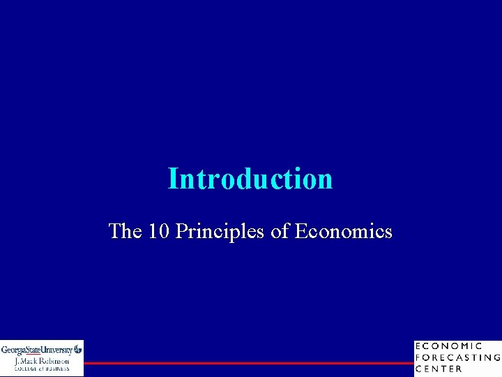 Introduction The 10 Principles of Economics