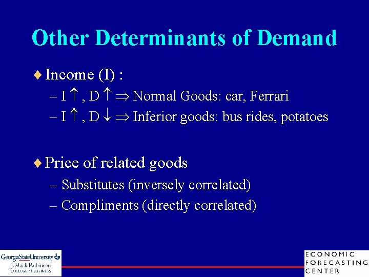 Other Determinants of Demand ¨ Income (I) : – I , D Normal Goods: