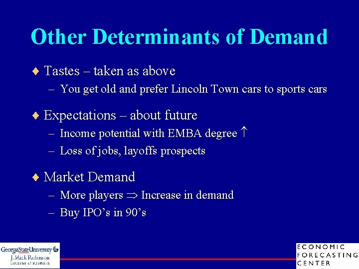 Other Determinants of Demand ¨ Tastes – taken as above – You get old