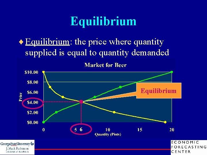 Equilibrium ¨ Equilibrium: the price where quantity supplied is equal to quantity demanded Equilibrium