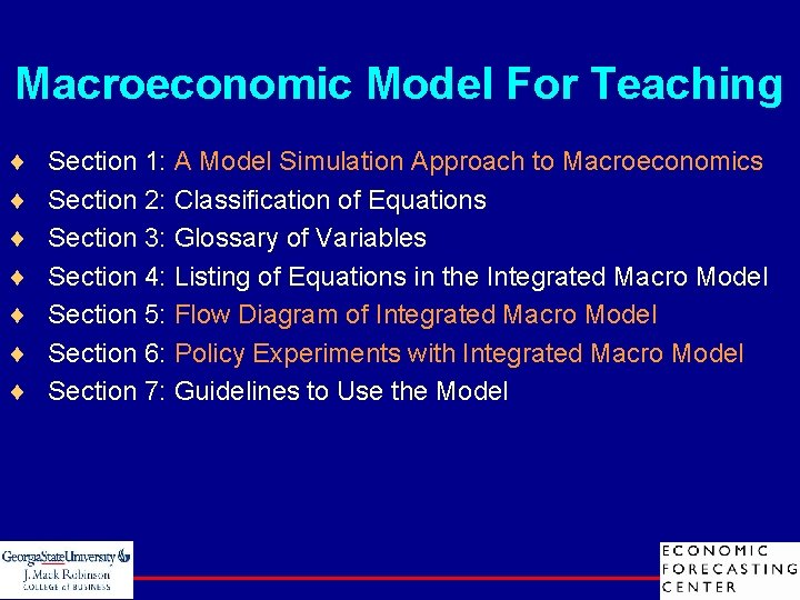 Macroeconomic Model For Teaching ¨ ¨ ¨ ¨ Section 1: A Model Simulation Approach