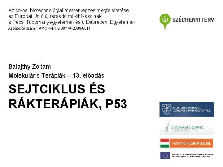 Az orvosi biotechnológiai mesterképzés megfeleltetése az Európai Unió új társadalmi kihívásainak a Pécsi Tudományegyetemen