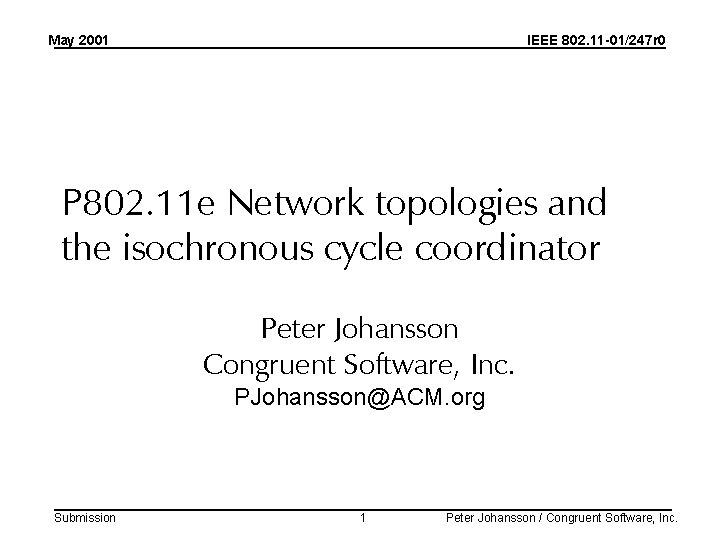 May 2001 IEEE 802. 11 -01/247 r 0 P 802. 11 e Network topologies