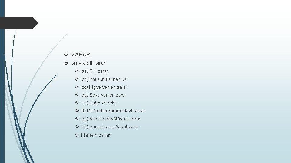 ZARAR a) Maddi zarar aa) Fiili zarar bb) Yoksun kalınan kar cc) Kişiye