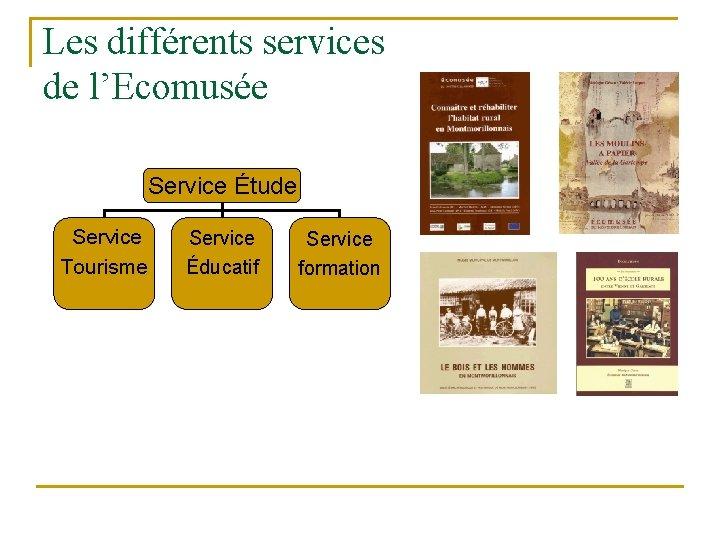 Les différents services de l'Ecomusée Service Étude n. Service Tourisme Éducatif formation