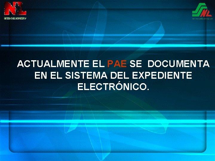 ACTUALMENTE EL PAE SE DOCUMENTA EN EL SISTEMA DEL EXPEDIENTE ELECTRÓNICO.