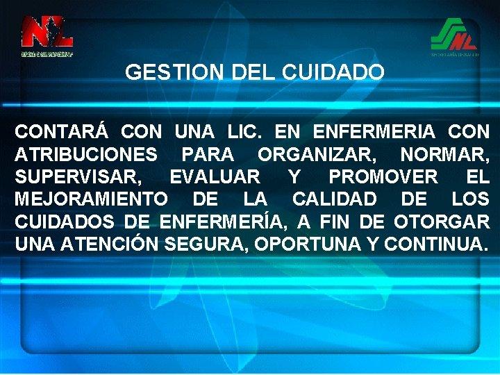 GESTION DEL CUIDADO CONTARÁ CON UNA LIC. EN ENFERMERIA CON ATRIBUCIONES PARA ORGANIZAR, NORMAR,