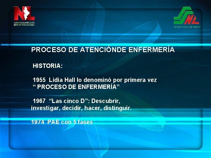 """PROCESO DE ATENCIÓNDE ENFERMERÍA HISTORIA: 1955 Lidia Hall lo denominó por primera vez """""""