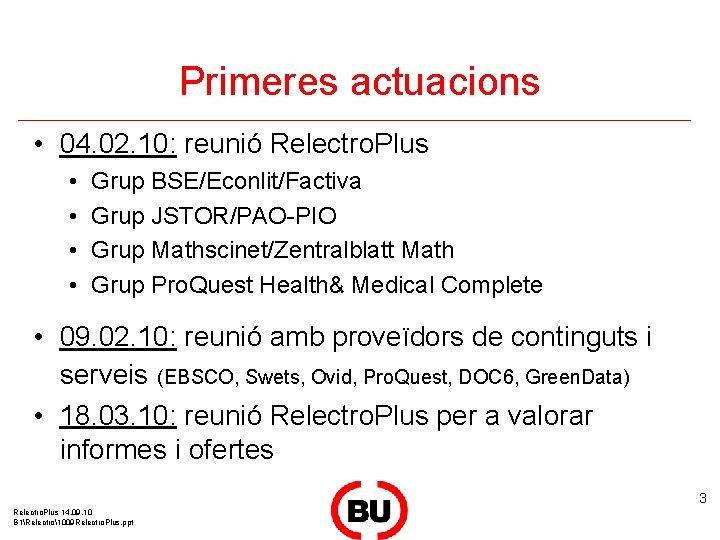 Primeres actuacions • 04. 02. 10: reunió Relectro. Plus • • Grup BSE/Econlit/Factiva Grup