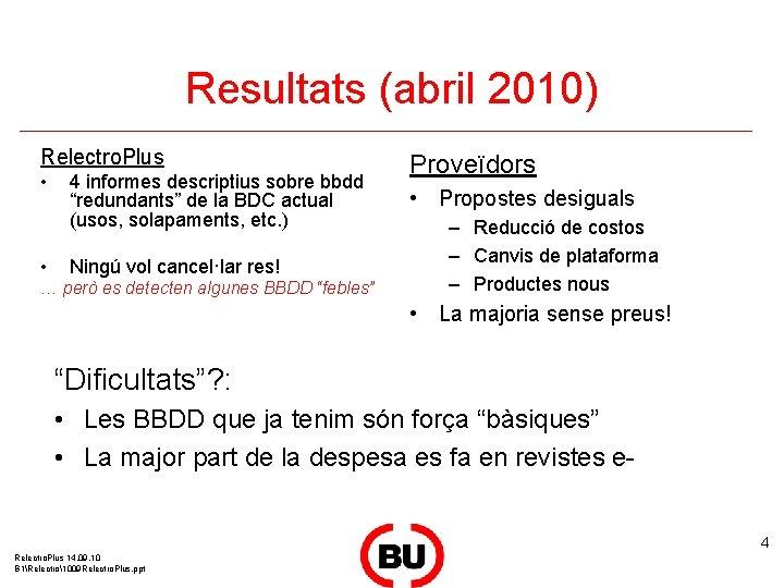 "Resultats (abril 2010) Relectro. Plus • • 4 informes descriptius sobre bbdd ""redundants"" de"