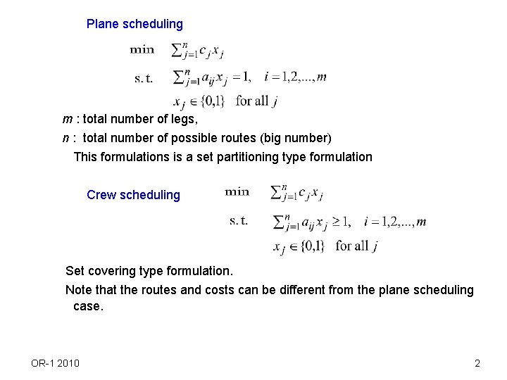 Plane scheduling m : total number of legs, n : total number of possible