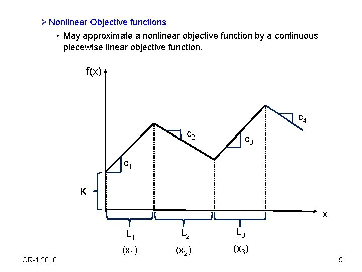 Ø Nonlinear Objective functions • May approximate a nonlinear objective function by a continuous