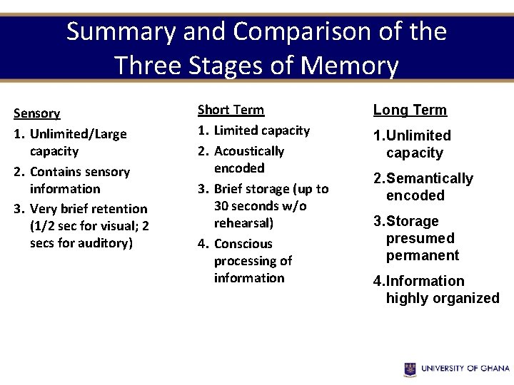 Summary and Comparison of the Three Stages of Memory Sensory 1. Unlimited/Large capacity 2.