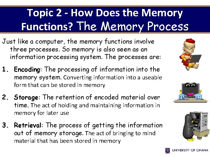 Topic 2 - How Does the Memory Functions? The Memory Process Just like a