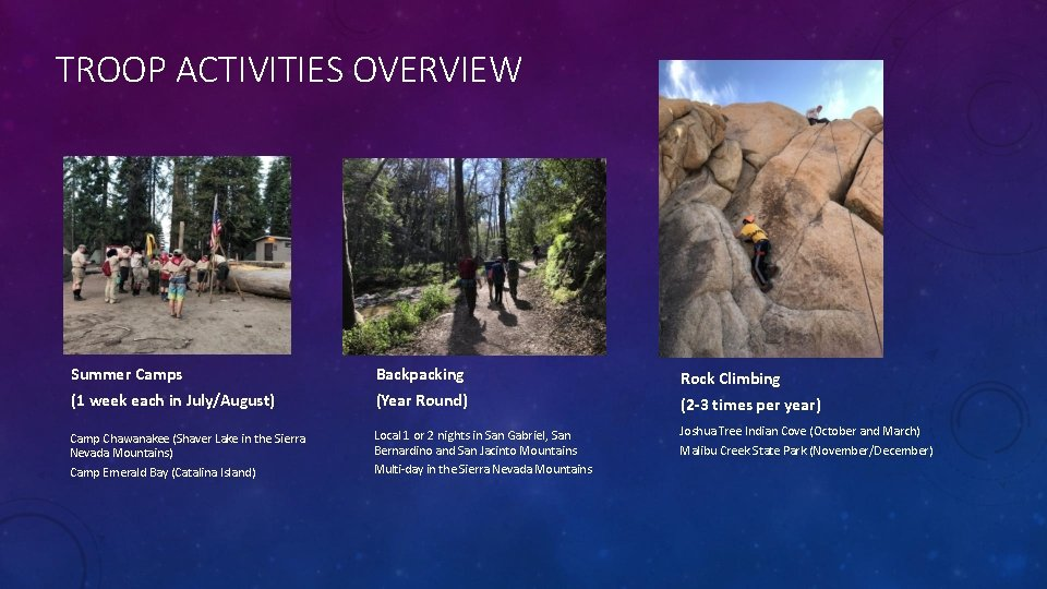 TROOP ACTIVITIES OVERVIEW Summer Camps Backpacking (1 week each in July/August) (Year Round) Camp