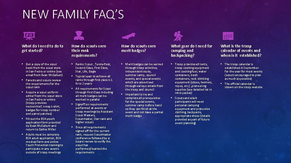 NEW FAMILY FAQ'S What do I need to do to get started? How do