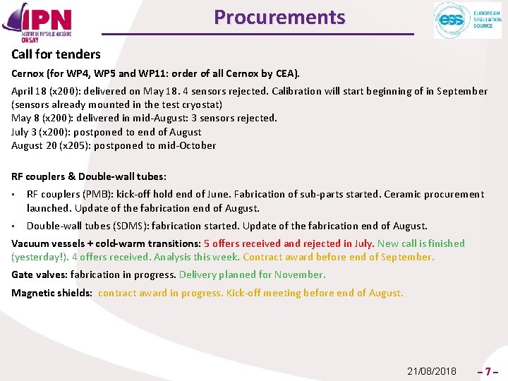 Procurements Call for tenders Cernox (for WP 4, WP 5 and WP 11: order
