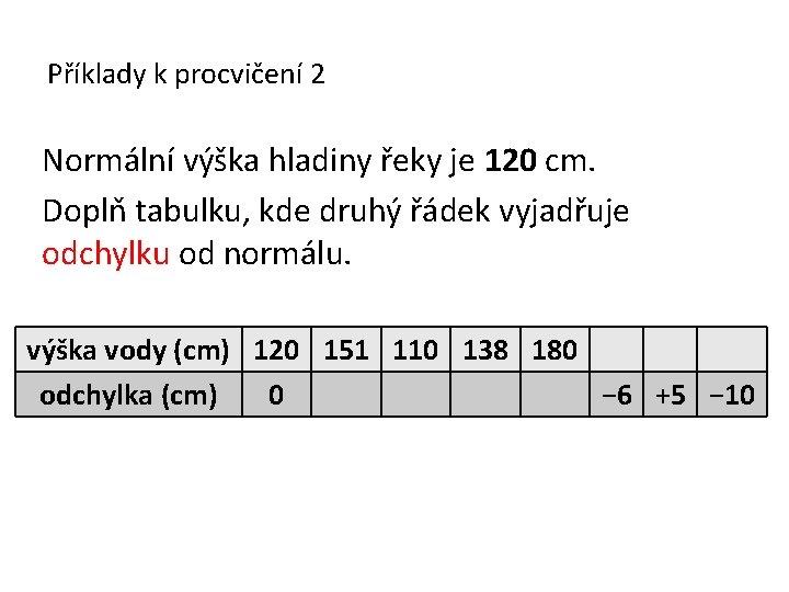 Příklady k procvičení 2 Normální výška hladiny řeky je 120 cm. Doplň tabulku, kde