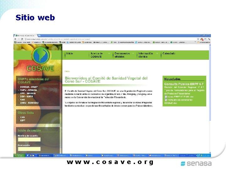Sitio web www. cosave. org