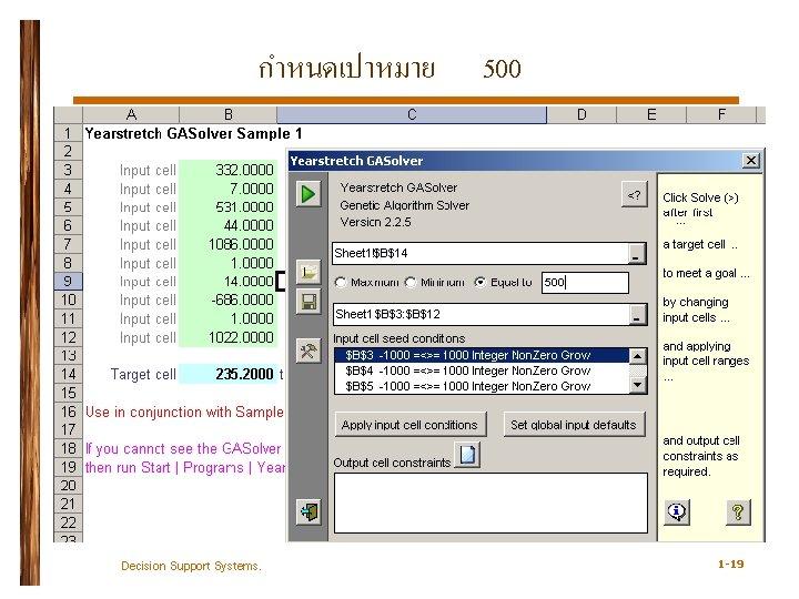 กำหนดเปาหมาย Decision Support Systems. 500 1 -19
