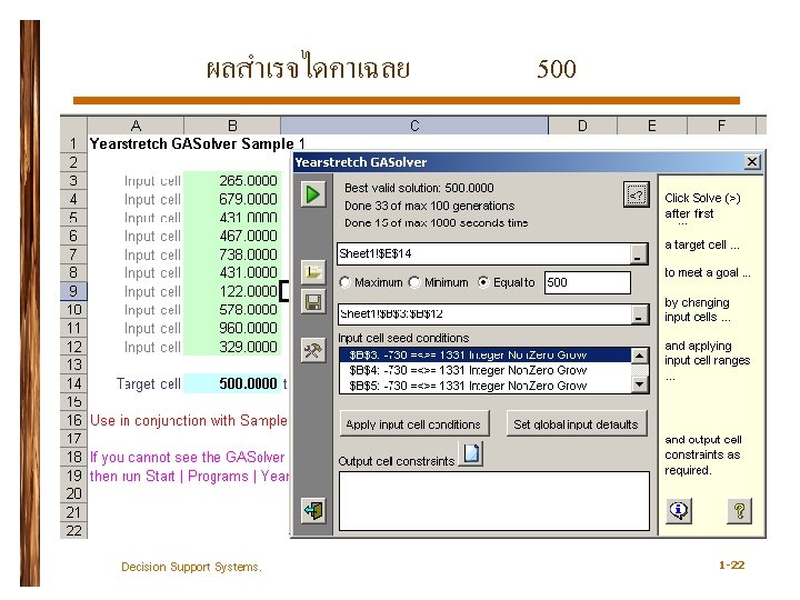 ผลสำเรจไดคาเฉลย Decision Support Systems. 500 1 -22