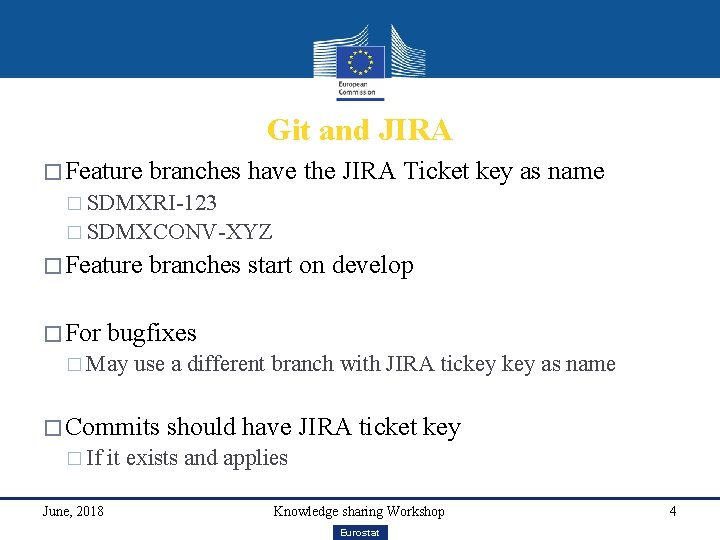 Git and JIRA � Feature branches have the JIRA Ticket key as name �