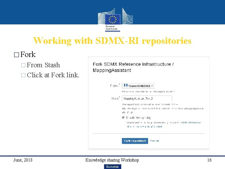 Working with SDMX-RI repositories � Fork � From Stash � Click at Fork link.