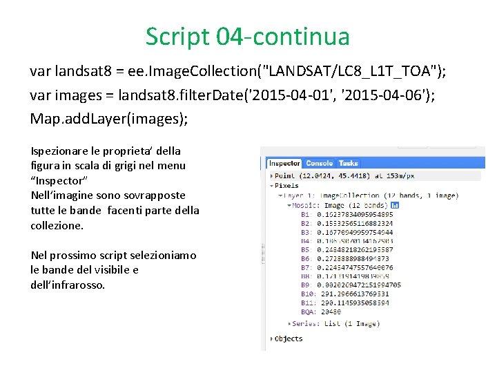 """Script 04 -continua var landsat 8 = ee. Image. Collection(""""LANDSAT/LC 8_L 1 T_TOA""""); var"""