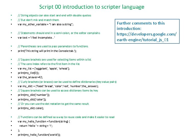 Script 00 introduction to scripter language • • • // String objects can also