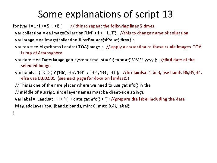 Some explanations of script 13 for (var i = 1; i <= 5; ++i)