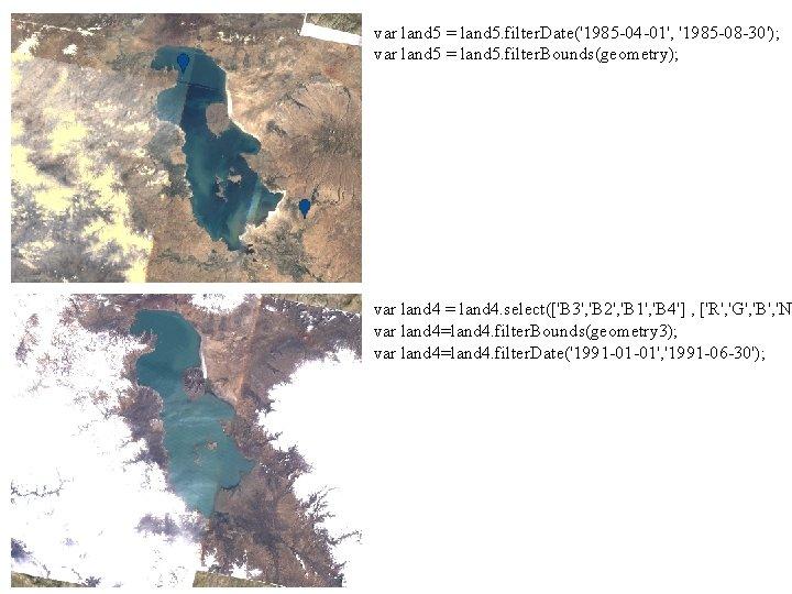 var land 5 = land 5. filter. Date('1985 -04 -01', '1985 -08 -30'); var