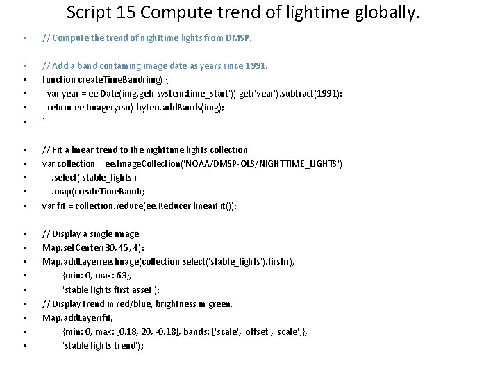 Script 15 Compute trend of lightime globally. • // Compute the trend of nighttime