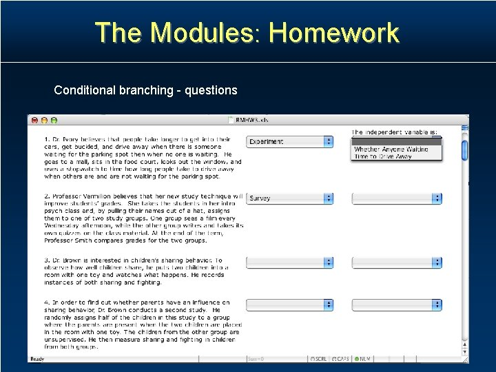 The Modules: Homework Conditional branching - questions