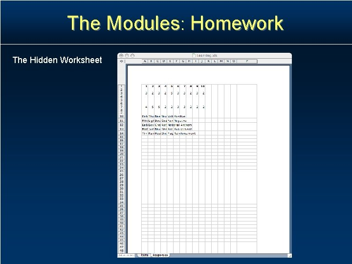 The Modules: Homework The Hidden Worksheet