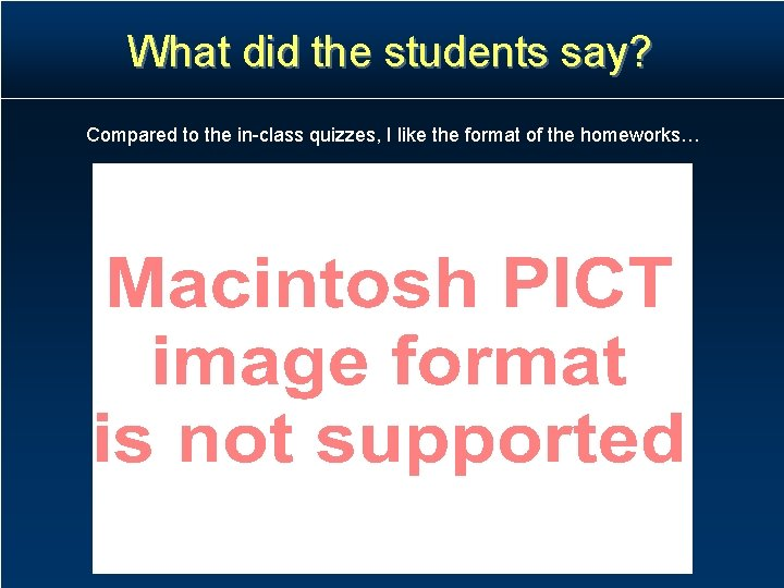 What did the students say? Compared to the in-class quizzes, I like the format