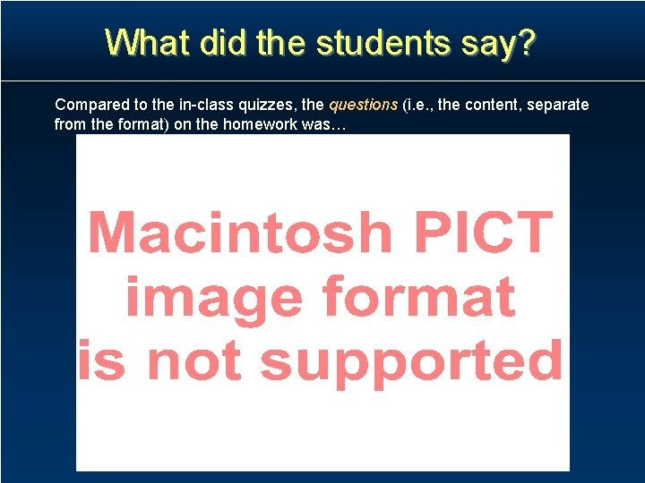 What did the students say? Compared to the in-class quizzes, the questions (i. e.