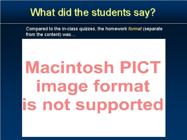 What did the students say? Compared to the in-class quizzes, the homework format (separate