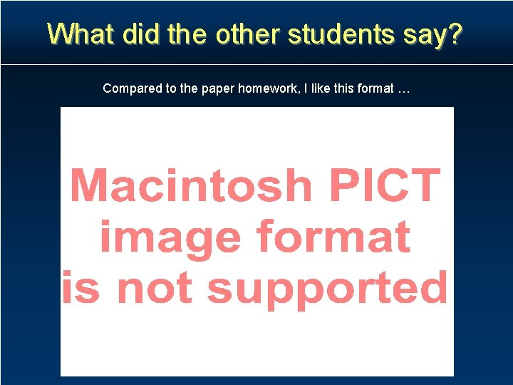 What did the other students say? Compared to the paper homework, I like this