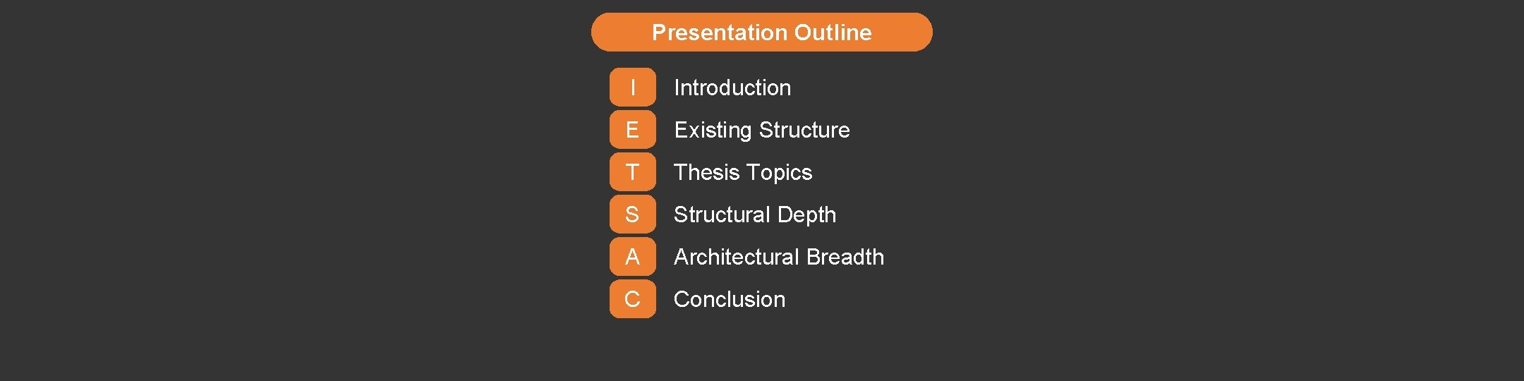 Presentation Outline I Introduction E Existing Structure T Thesis Topics S Structural Depth A