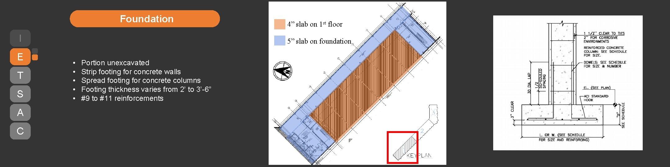 "Foundation I E T S A C 4"" slab on 1 st floor 5"""