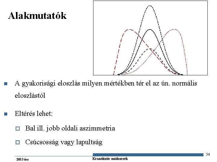 Alakmutatók n A gyakorisági eloszlás milyen mértékben tér el az ún. normális eloszlástól n
